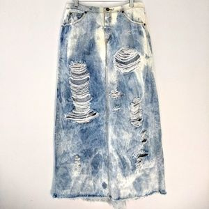 Custom Distressed Denim Fishtail Maxi Skirt
